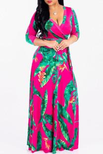 Rose Red Fashion Casual Print Bandage V Neck Long Sleeve Dresses