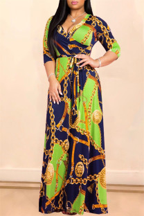Green Fashion Casual Print Bandage V Neck Long Sleeve Dresses