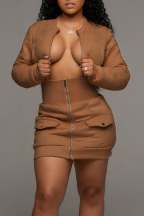 Brown Sexy Solid Split Joint Zipper Collar Long Sleeve Two Pieces