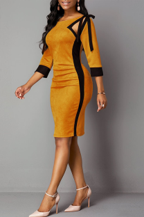 Yellow Sexy Solid Hollowed Out O Neck Pencil Skirt Dresses
