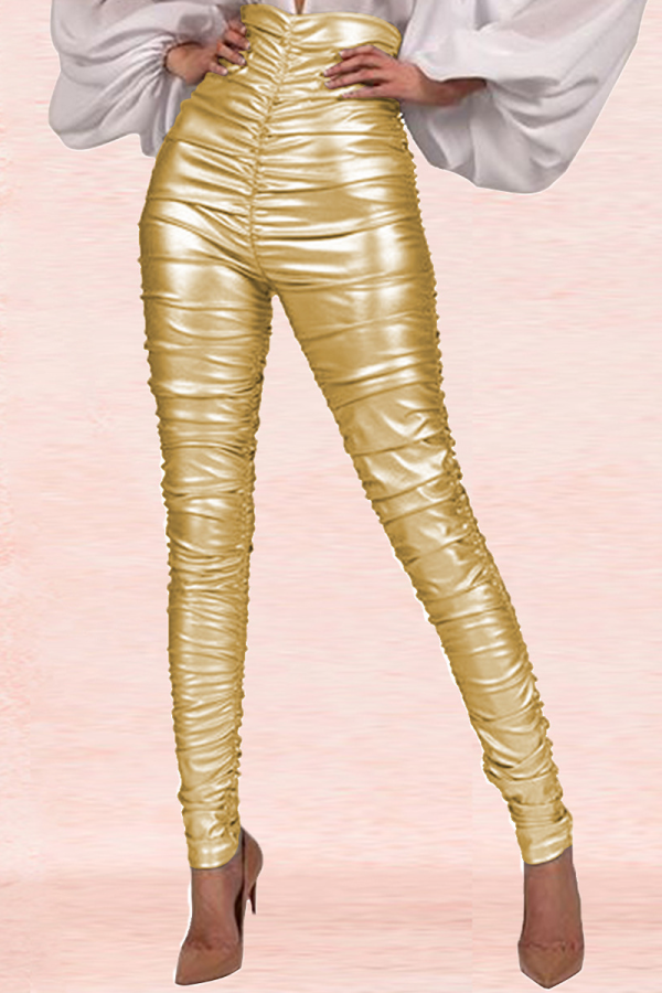 Gold Sexy Solid Split Joint Skinny High Waist Pencil Bottoms