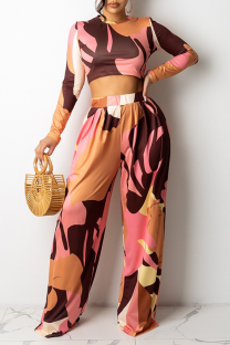 Pink Casual Print Split Joint O Neck Long Sleeve Two Pieces