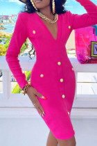 Rose Red Fashion Casual Solid Basic V Neck Long Sleeve Dresses