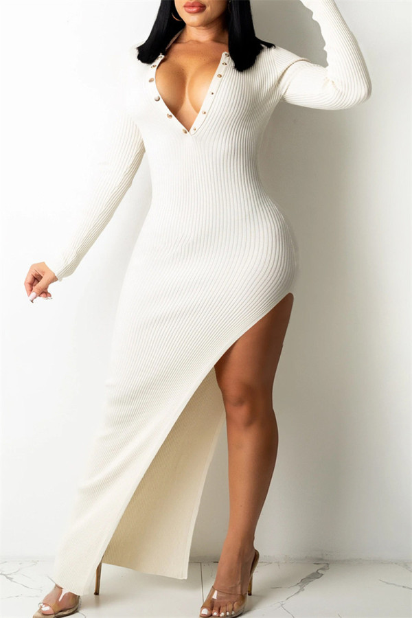 White Fashion Sexy Solid Backless V Neck Long Sleeve Dresses