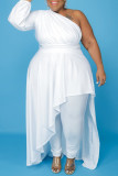 White Fashion Casual Plus Size Solid Backless Oblique Collar Irregular Dress