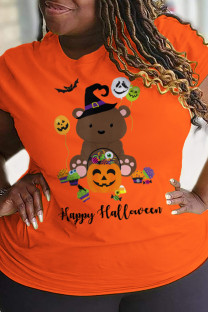 Orange Party Cute Character Split Joint O Neck Plus Size Tops