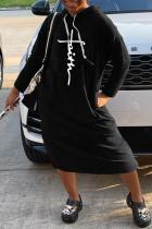 Black Fashion Casual Print Basic Hooded Collar Long Sleeve Dresses