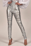 Silver Sexy Solid Split Joint Skinny High Waist Pencil Bottoms