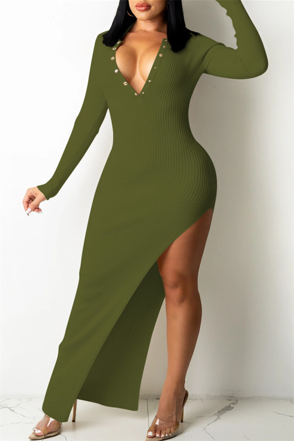Army Green Fashion Sexy Solid Backless V Neck Long Sleeve Dresses
