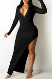 Brown Fashion Sexy Solid Backless V Neck Long Sleeve Dresses