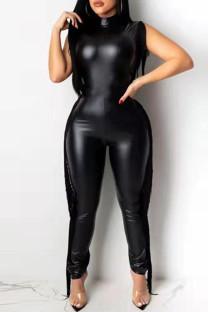 Black Fashion Casual Patchwork Tassel Turtleneck Plus Size Jumpsuits