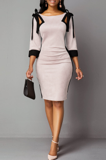 Pink Sexy Solid Hollowed Out O Neck Pencil Skirt Dresses