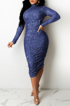 Blue Purple Fashion Sexy Patchwork Sequins Turtleneck Long Sleeve Dresses