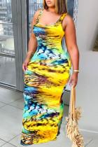 Yellow Casual Print Split Joint U Neck Pencil Skirt Dresses