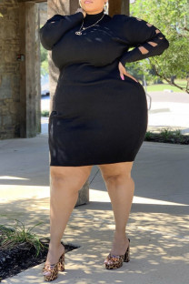 Black Casual Solid Ripped Split Joint Turtleneck One Step Skirt Plus Size Dresses
