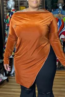 Orange Fashion Casual Solid Slit Zipper Boat Neck Plus Size Tops