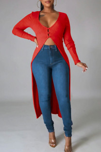 Red Casual Solid Split Joint Buttons Asymmetrical V Neck Outerwear