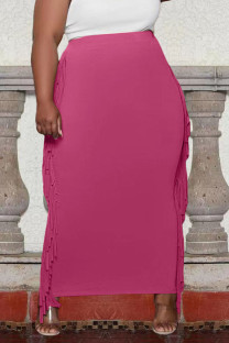 Rose Red Casual Solid Tassel Split Joint Plus Size