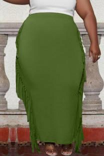 Green Casual Solid Tassel Split Joint Plus Size