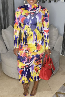 Yellow Casual Print Split Joint Half A Turtleneck One Step Skirt Dresses