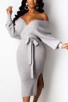 Grey Fashion Adult Elegant Pit Article Fabrics Solid Bandage Backless V Neck Long Sleeve Mid Calf Pencil Skirt Dresses