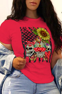 Red Street Party Print Split Joint O Neck T-Shirts