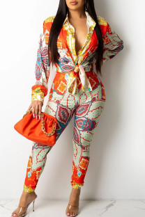 Tangerine Casual Print Bandage Split Joint V Neck Long Sleeve Two Pieces