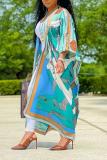 White Casual Print Split Joint V Neck Straight Dresses