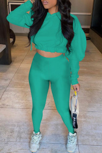 Lake Green Casual Solid Split Joint Hooded Collar Long Sleeve Two Pieces
