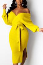 Yellow Fashion Adult Elegant Pit Article Fabrics Solid Bandage Backless V Neck Long Sleeve Mid Calf Pencil Skirt Dresses