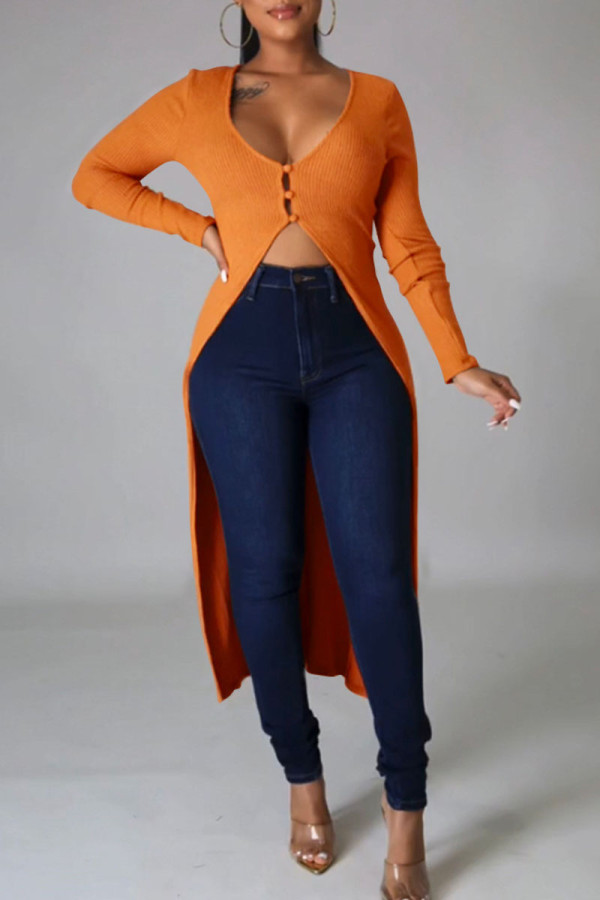 Tangerine Red Casual Solid Split Joint Buttons Asymmetrical V Neck Outerwear