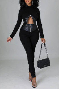 Black Fashion Casual Patchwork Solid Zipper Half A Turtleneck Long Sleeve Two Pieces