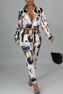 Coffee Casual Print Split Joint Buckle Turndown Collar Long Sleeve Two Pieces