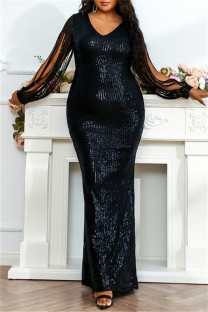 Black Fashion Sexy Plus Size Solid Sequins V Neck Evening Dress