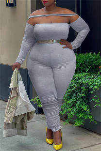 Grey Sexy Casual Solid Split Joint Backless Off the Shoulder Plus Size Jumpsuits