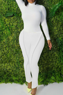 White Fashion Casual Solid Split Joint Turtleneck Plus Size Two Pieces