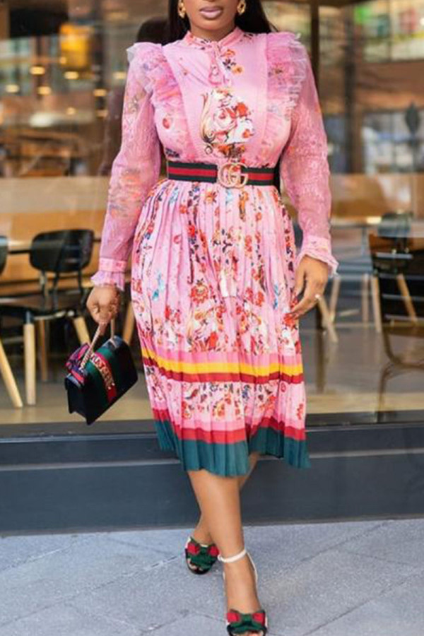 Pink Elegant Print Split Joint Flounce Fold O Neck A Line Dresses