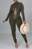 Army Green Fashion Casual Patchwork Zipper Half A Turtleneck Long Sleeve Two Pieces