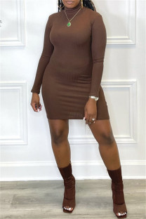 Brown Fashion Casual Solid Basic Turtleneck Long Sleeve Dresses