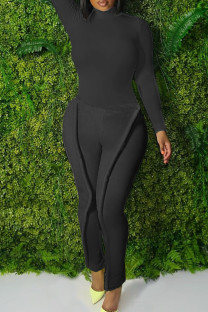 Black Fashion Casual Solid Split Joint Turtleneck Plus Size Two Pieces
