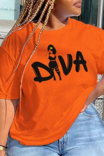 Orange Street Daily Print Letter O Neck T-Shirts