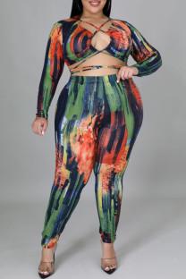 Colour Sexy Print Hollowed Out Split Joint Frenulum Asymmetrical Collar Plus Size Two Pieces