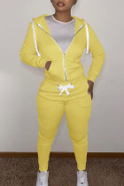 Yellow Casual Solid Split Joint Zipper Hooded Collar Long Sleeve Two Pieces