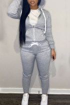 Light Gray Casual Solid Split Joint Zipper Hooded Collar Long Sleeve Two Pieces