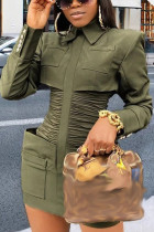 Army Green Street Solid Split Joint Turndown Collar Pencil Skirt Dresses