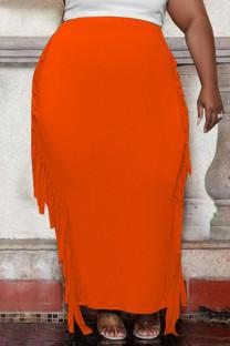 Orange Fashion Casual Solid Tassel Plus Size Skirt