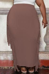 Coffee Fashion Casual Solid Tassel Plus Size Skirt