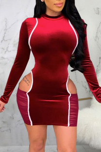 Burgundy Sexy Solid Hollowed Out Split Joint O Neck A Line Dresses
