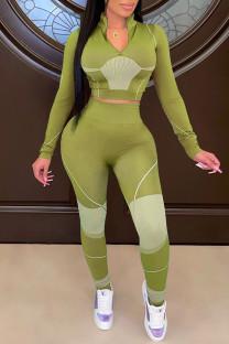 Green Yellow Casual Sportswear Print Split Joint Zipper Collar Long Sleeve Two Pieces