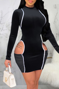Black Sexy Solid Hollowed Out Split Joint O Neck A Line Dresses